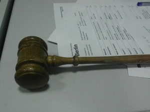 Gavel used by Toastmaster of the evening